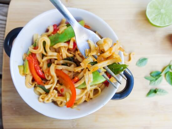 Spicy Basil Noodles - Yup, it's Vegan