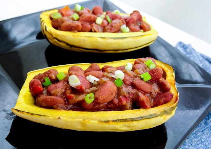 Cajun Red Bean Stuffed Delicata Squash | yupitsvegan.com