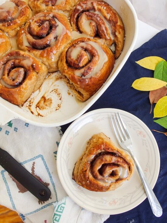 Pretzel Cinnamon Rolls with Maple Whiskey Glaze | yupitsvegan.com