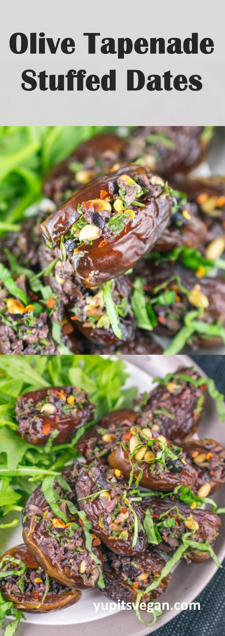 Olive Tapenade Stuffed Dates: Try something different with stuffed dates. No cheese, no bacon, instead they're stuffed with a briny, salty, creamy olive tapenade and toasted pine nuts. Vegan, paleo, gluten-free, dairy-free.