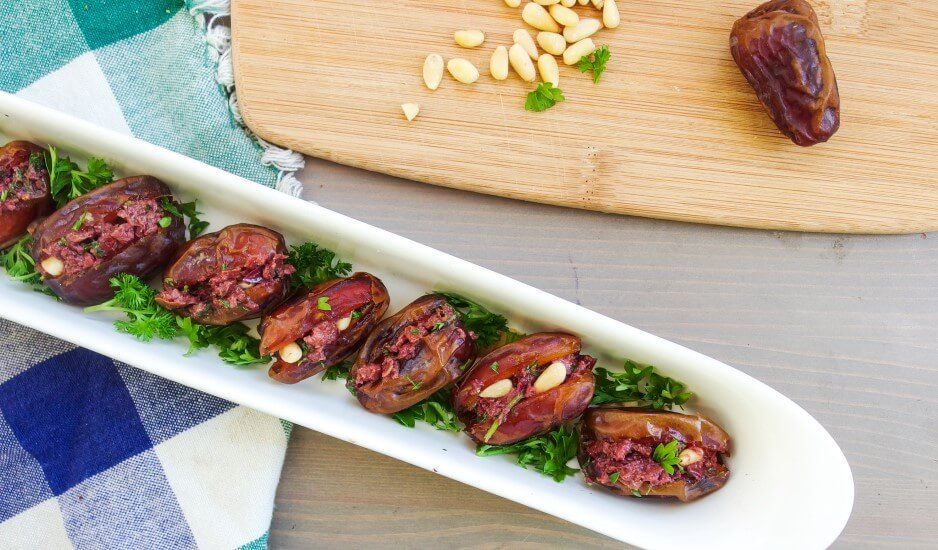 Toasted Pine Nut and Olive Tapenade-Stuffed Dates | yupitsvegan.com