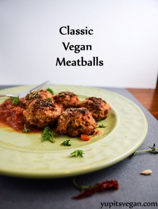 Classic Vegan Meatballs | yupitsvegan.com. Easy meatless meatballs made from chickpeas and seitan that hold together in sauces (plus, are packed with protein!)