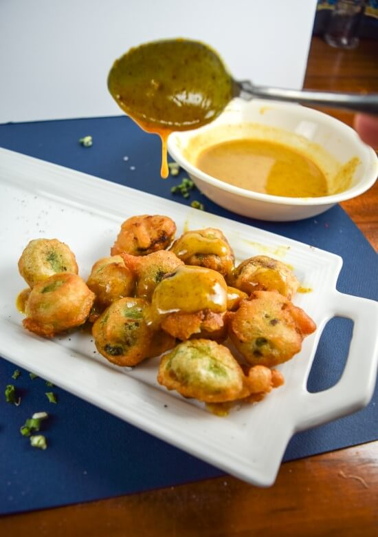 Sticky maple syrup, spicy mustard, and salty worcestershire sauce make a flavorful dip for crunchy and tender beer battered vegan brussel's sprouts - get two servings of vegetables out of this delicious snack!