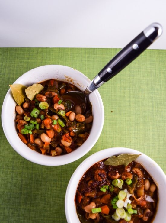 Black-eyed Pea and Collard Green Chili from the Vegan Pressure Cooking cookbook!   yupitsvegan.com.