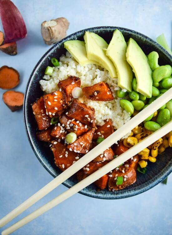 Teriyaki Cauliflower Rice Bowls with Sweet Potato and Avocado
