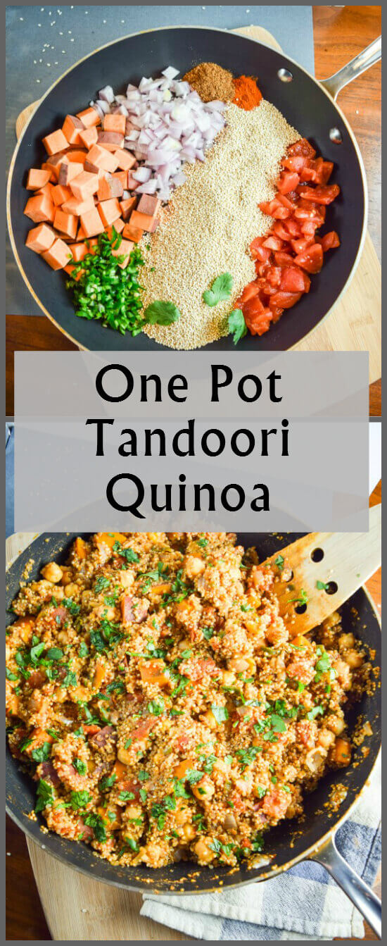 Before and after pictures of fresh ingredients - sweet potatoes, red onion, jalapeno, tomato, and quinoa - and a gluten free, vegan finished one pot Indian dinner