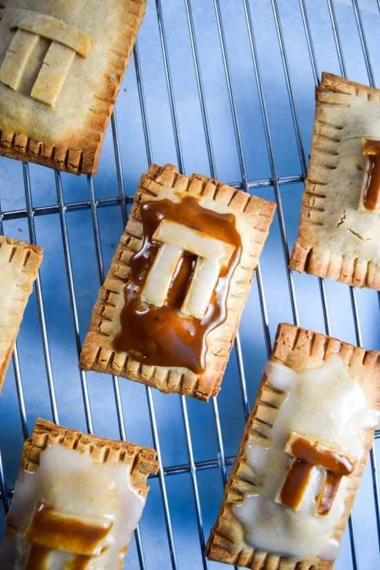 "Vegan Pecan ""Pi"" Pop Tarts made with a fragrant nutty pie filling, a luscious date caramel, and a coconut sugar and brandy glaze 