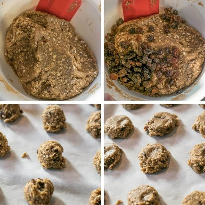 Step-by-step photos showing raisins being mixed into cookie dough, then scoops of cookie dough being slightly flattened on a baking sheet.