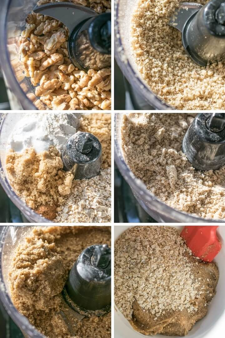 Step-by-step photos showing walnuts being ground into flour, then mixed with other dry ingredients, and then blended with wet ingredients into a smooth dough.
