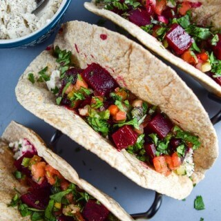 Chipotle Roasted Beet Tacos with Cashew Queso Fresco