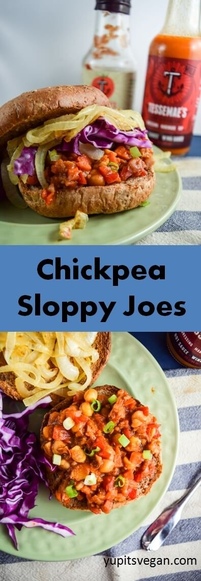 Chickpea Sloppy Joes | yupitsvegan.com. Hearty vegan sloppy joes made with chickpeas and carrots, topped with caramelized onions and fresh cabbage. Nut-free, with gluten-free and grain-free options.