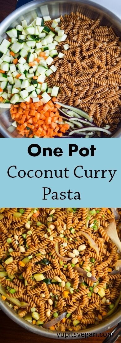 One Pot Coconut Curry Pasta | yupitsvegan.com. Just one pot and 20 minutes are needed for this easy Thai-inspired dish flavored with coconut milk, red curry paste, ginger, and lime; and lots of veggies! Vegan recipe.