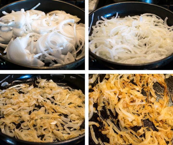 Collage showing 4 stages of onions caramelizing