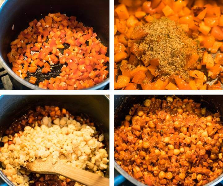 Collage of steps for making vegan chickpea sloppy joes: saute peppers, garlic, and carrot; bloom spices; stir in chickpeas and sauce and simmer until done.