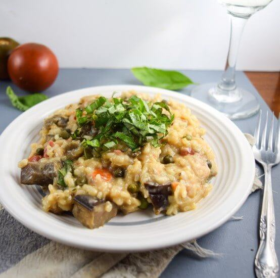 Roasted Eggplant Risotto with tangy Capers and Fresh bright Basil coated in a coconut milk creaminess that brings sweetness to classic Italian flavors - comforting and warm meal | yupitsvegan.com