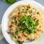 Roasted Eggplant Risotto with Capers and Basil
