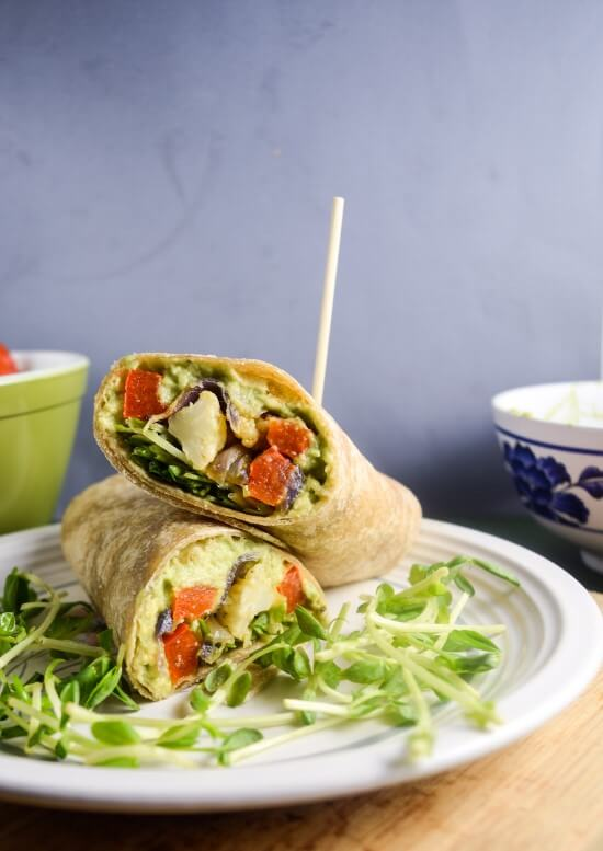Roasted Vegetable Avocado Garden Wraps | Yup, it's Vegan