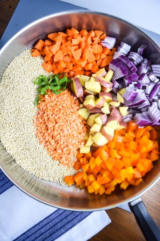 Closeup of beautiful ingredients for one pot moroccan quinoa - fresh red onion, bright carrots, orange bell pepper, red bell pepper, and cilantro garnish with red lentils