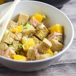 Tofu Poke (Hawaiian Marinated Tofu) with Quick-Pickled Shallots and Mango