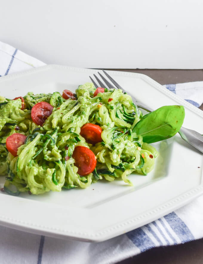 Rich and creamy raw Avocado Pesto Zucchini Noodles with sweet tomatoes and italian seasoning | Yup, it's Vegan. Raw, vegan, gluten-free.