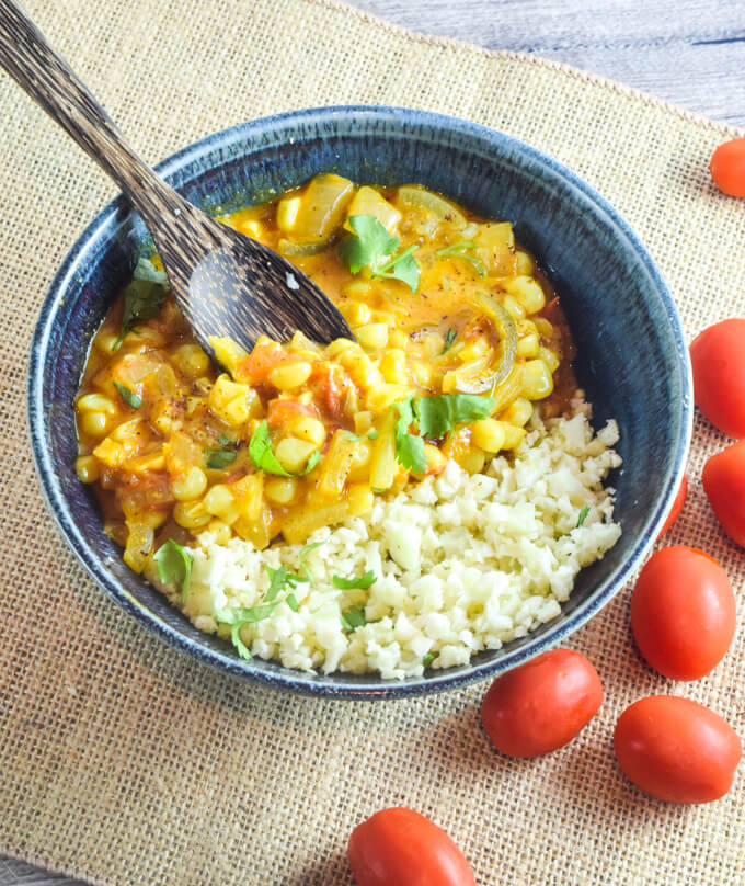 Sweet Corn Curry | Yup, it's Vegan. Fresh summer corn simmered in a spiced coconut milk stew.