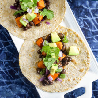 BBQ Sweet Potato and Black Bean Tacos