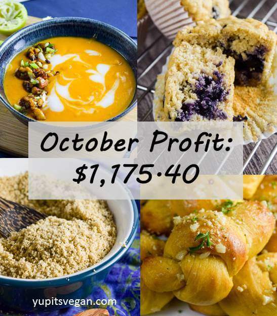 October 2016 Blog Income and Profit | yupitsvegan.com