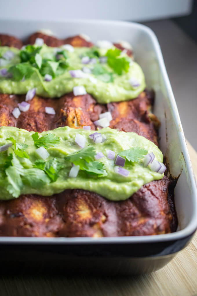 Chickpea Scramble Breakfast Enchiladas with Chipotle Sauce | Yup, it's Vegan