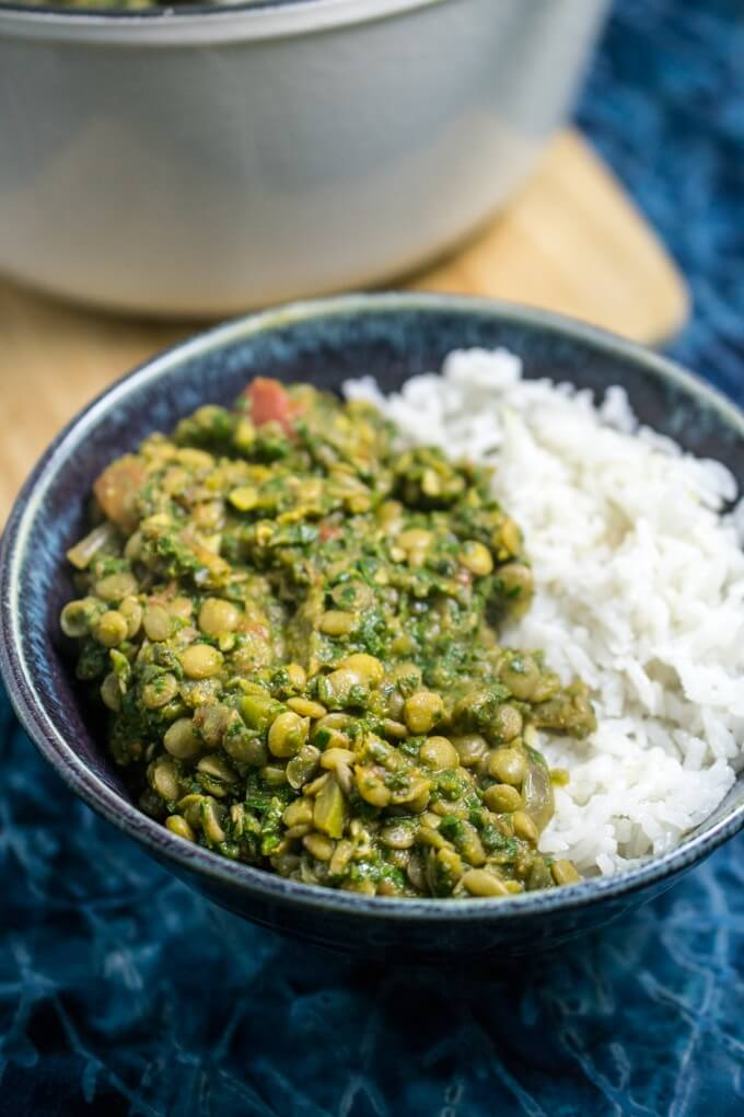 Gluten, nut, and soy free vegan low effort weeknight dinner - lentil spinach curry with eight cups of nutrient-packed greens and a hearty coconut rice