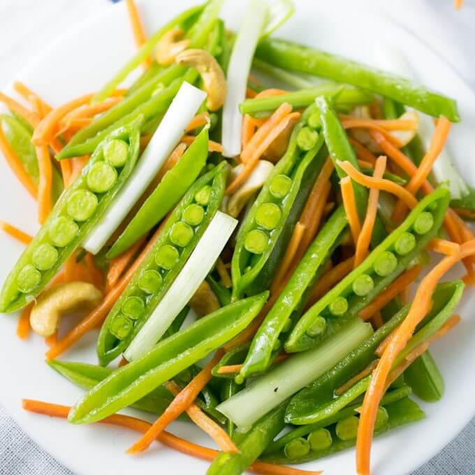 Simple Cashew Sesame Snap Pea Salad