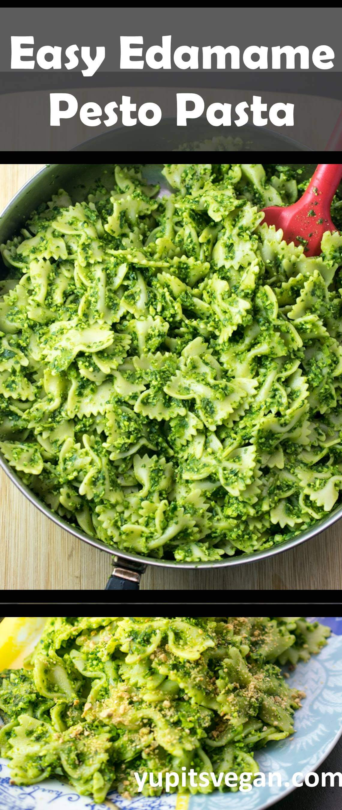 Easy Edamame Pesto Pasta | Protein-packed, vegan, gluten-free option for this edamame basil pesto made with fresh spinach, garlic and shallot. Healthy and quick, ready in 30 easy minutes!