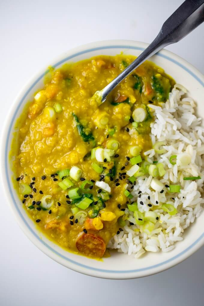 Coriander Dal | Yup, it's Vegan. Prepared along with sriracha hemp noodles from Sweet, Savory and Free by Debbie Adler.