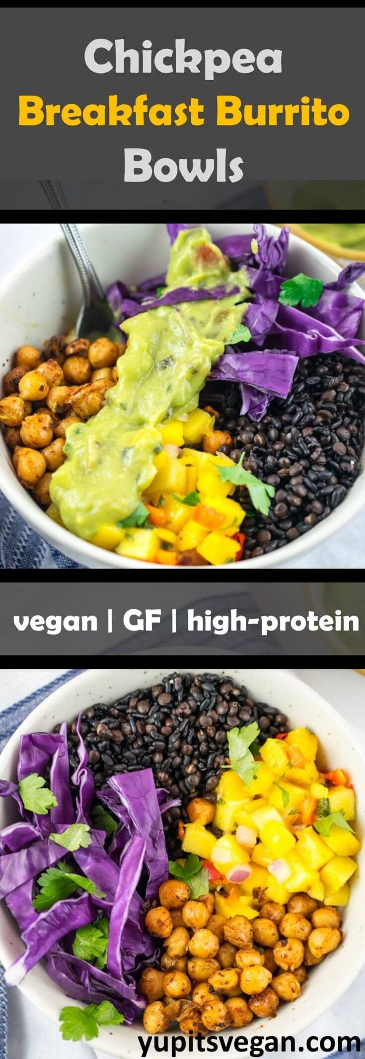 Chickpea Breakfast Burrito Bowls made with spicy pan-fried chickpeas, mango salsa, guacamole, red cabbage, and Village Harvest Organic Antioxidant blend (black rice, black lentils, and black quinoa). Vegan and vegetarian burrito bowls!