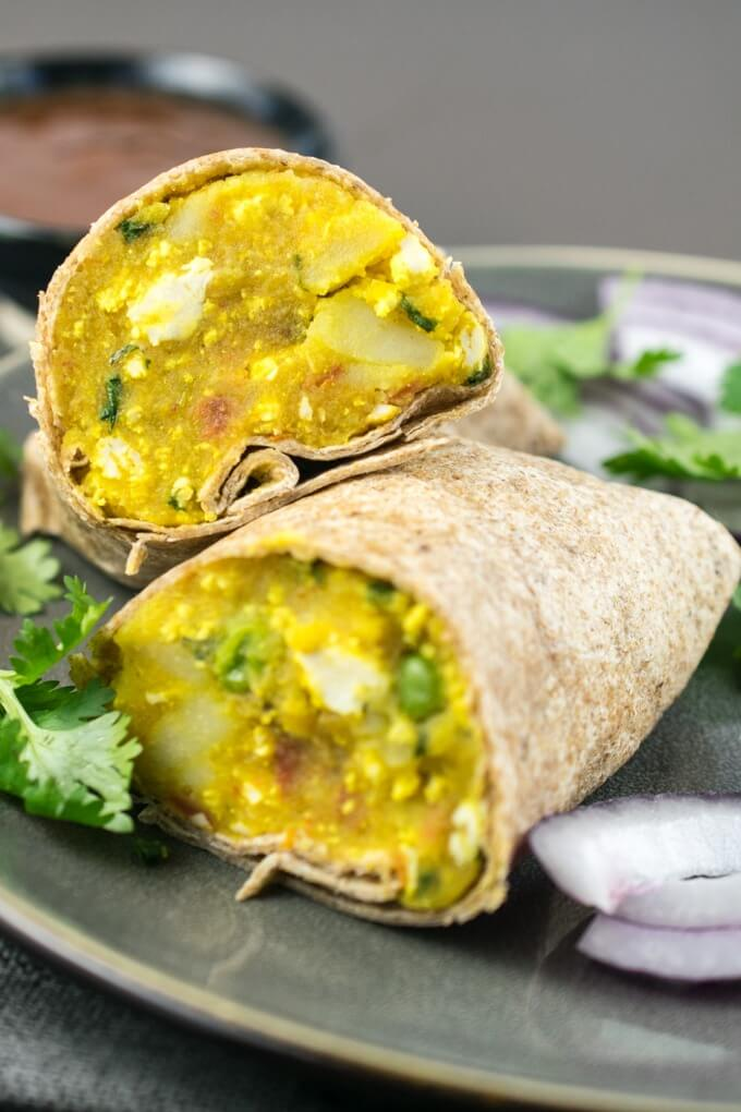 Indian samosa wraps, part of a Veganuary recipe collection.