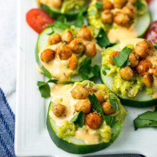 Spicy Chickpea Avocado Cucumber Bites