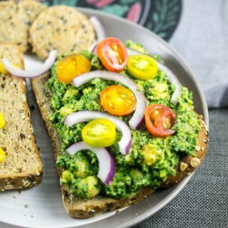 Collard Greens Pesto Chickpea Salad Sandwiches