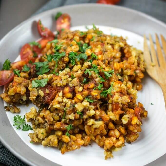 Baked Farro with Tomato and Herbs