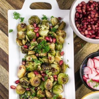 Roasted Brussels Sprouts with Pomegranate Reduction and Pumpkin Seeds