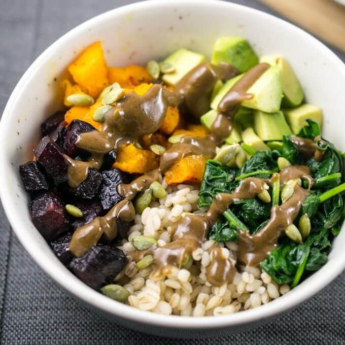 Winter Roasted Vegetable Barley Bowls | Yup, it's Vegan
