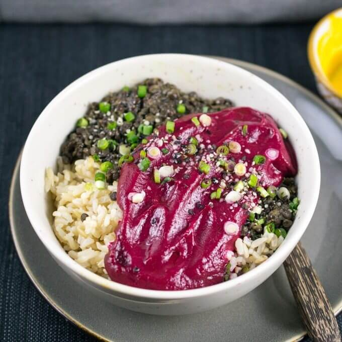 Peruvian Lentils with Beet Puree | Yup, it's Vegan