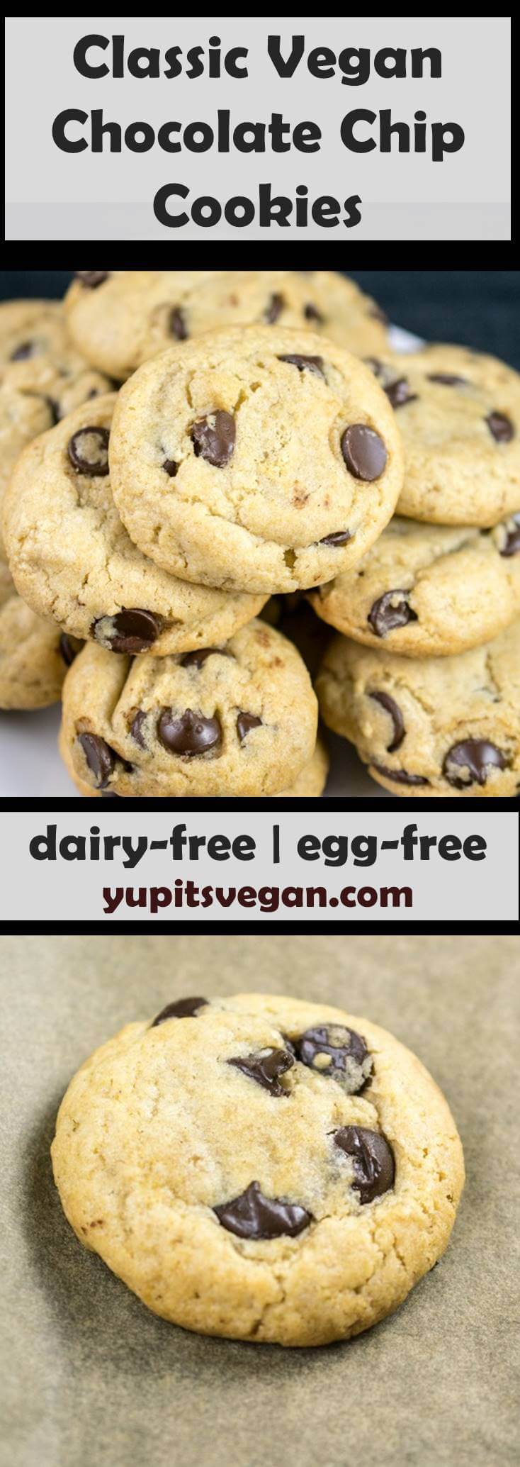 Vegan Chocolate Chip Cookies | Yup, it's Vegan. Everything you need to know about making easy dairy-free, egg-free chocolate chip cookies with regular everyday ingredients. Also happens to be soy-free and nut-free.
