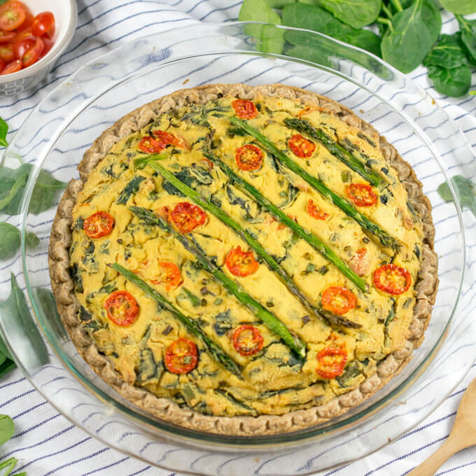 Vegan Quiche with Asparagus and Spinach | Yup, it's Vegan