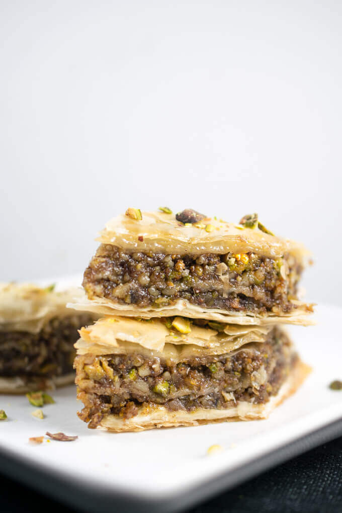 Spiced nut filling encased in flaky, browned layers of vegan phyllo dough, aka baklava