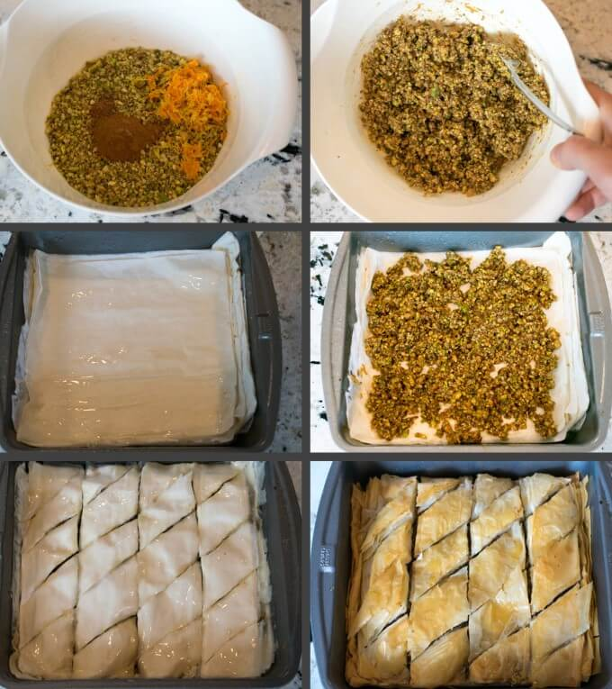 Step-by-step collage of making vegan baklava: mixing the filling, laying out and oiling the filo dough, spreading on the filling, and scoring the top to cut the vegan baklava into diamonds.