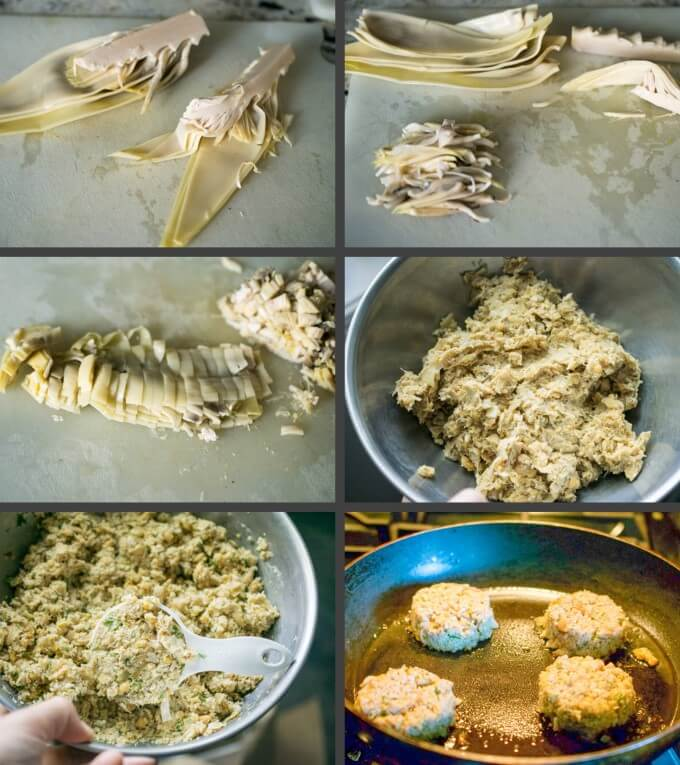 Step-by-step photo collage of prepping and cutting banana blossoms and mixing them with the other ingredients to fry vegan crab cakes