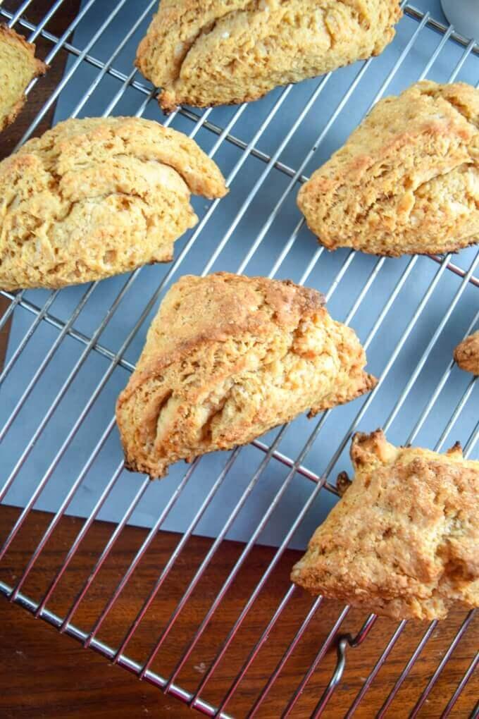 Whole wheat vegan scones on a baking rack