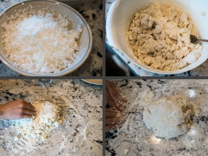 Collage of the steps to make dough for vegan scones by grating coconut oil, mixing it with flour, and working it into a dough