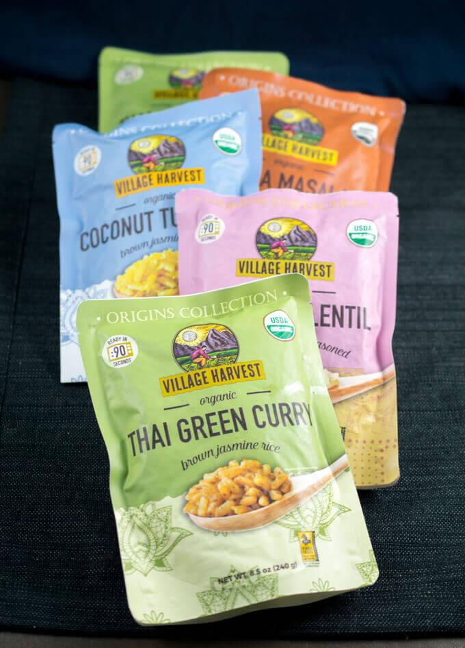 Village Harvest Origins Collection: Thai Green Curry, Coconut Turmeric, Basmati & Lentil, Tikka Masala, Lemon Rice