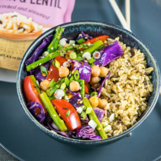 Spring Vegetable Chickpea Stir-fry with Chili Lime Sauce