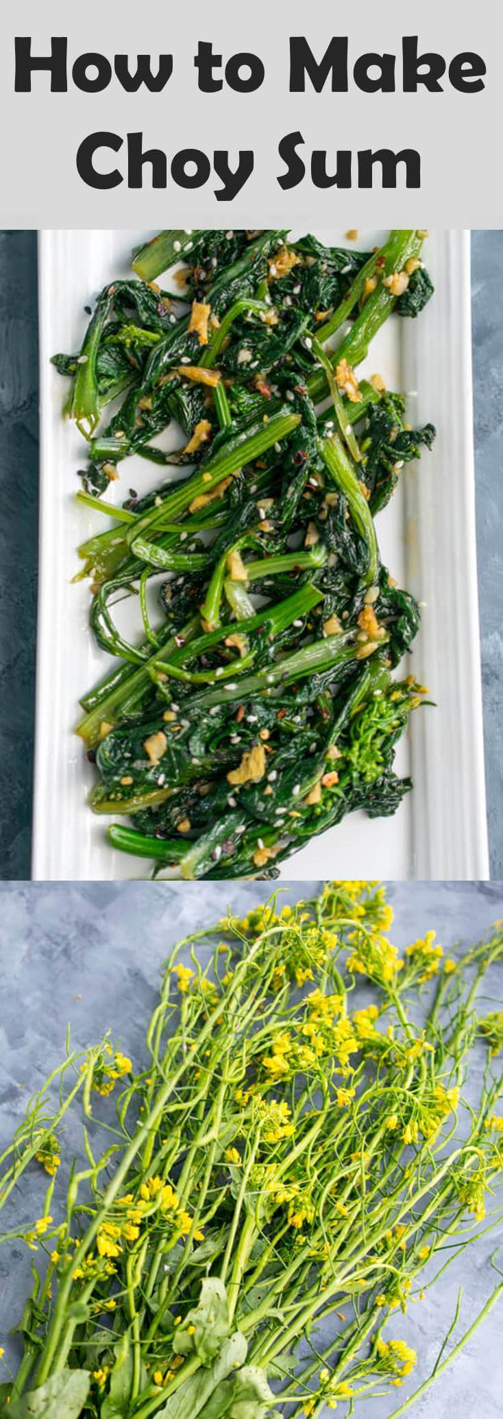 Chili Garlic Choy Sum Stir Fry: Learn how to prepare the leafy green Chinese flowering cabbage, also known as choy sum or gunsho, and an easy recipe for a vegetable side. Naturally vegan, gluten-free, paleo, nut-free.
